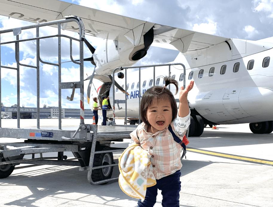 飛行機と子ども