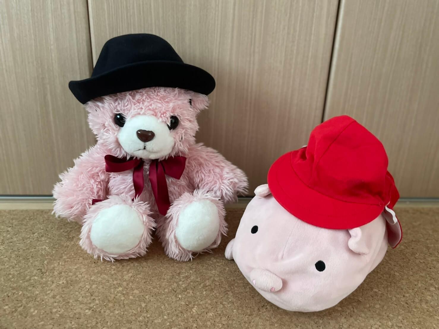 幼稚園帽子と赤帽子をかぶるぬいぐるみ